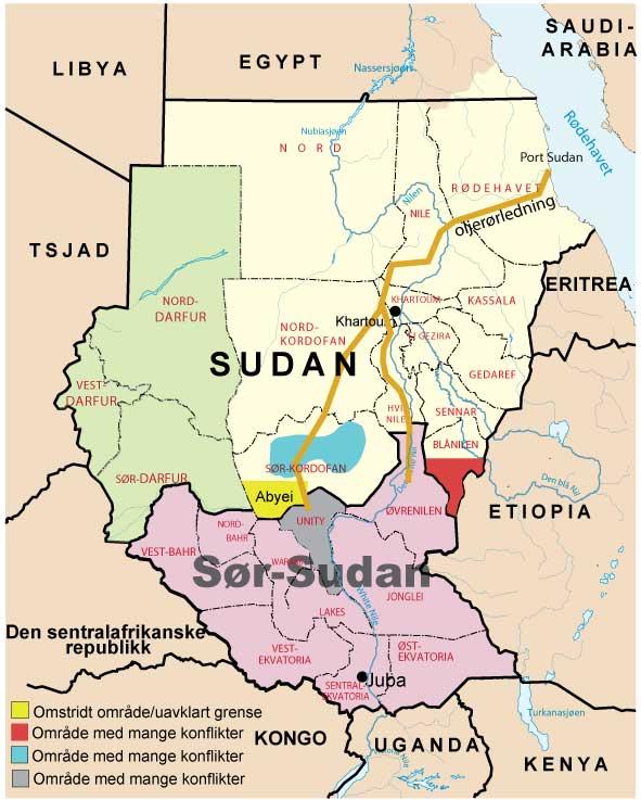 Sudan - Sør-Sudan kart